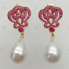 White Teardrop Sea Shell Pearl Gold Plated Fuchsia Cz Drop Stud Earrings