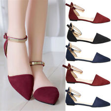 Womens Pointed Toe Ankle Strap Flat Heel Sandals Ballet Casual Shoes Flats