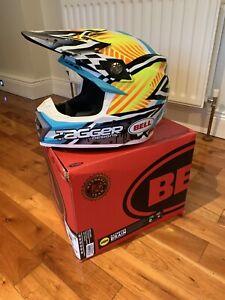 Bell Moto 9 Motocross Race Helmet Tagger Yellow Blue White XS 54-55cm