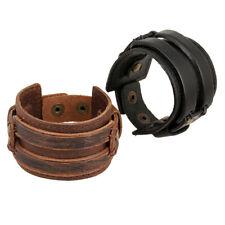 Genuine Leather Vintage Wide Multilayer Mens Brown Black Wrap Buckle Bracelet