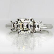 Asscher and Emerald Cut Platinum Diamond Engagement Ring 2.80 CT