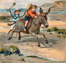 Vintage Decorative Victorian/Edwardian Beach/Seaside Scenes Colourful A4 Print 5