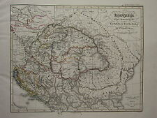 1846 SPRUNER ANTIQUE HISTORICAL MAP ~ HUNGARY 15th CENTURY IMMERSION SALVATION