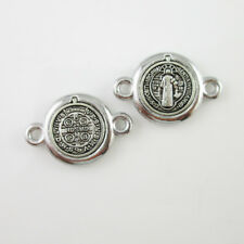 100pcs of Catholic Antique Silver Saint Benedict Medal Connector Junction