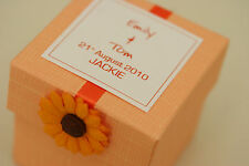 1 x Handmade Personalised LOVELY ORANGE Favour Boxes - Any Quantity Any Design