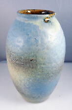 VINTAGE WEST GERMAN BAY LIGHT BLUE & CREAM  VASE 20cm  610 20