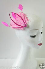 Hot Pink Feather Fascinator Headpiece Vintage Flapper 1920s Hair Clip Races O81