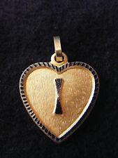 Pendentif Coeur Médaillon en Or Plaqué Lettre I 2 cm