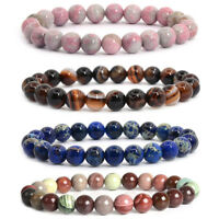 8mm Natural Agate Stones Stretch Beaded Healing Bracelet  for Women Jewelry