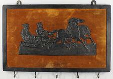 Eisenguss Russische Schlittenfahrt auf Samt montiert, um 1900