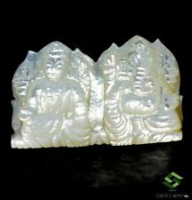 73.66 Cts Natural Mother Of Pearl Carving Hindu Lord Laxmi and Ganesha 40x25 mm