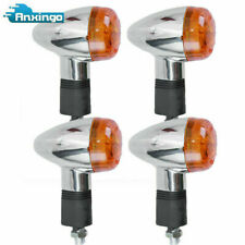 2 Pairs of Motorcycle Turn Signals Amber Chrome Bullet Front Rear