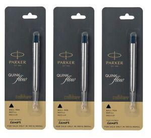 3 X Parker Quink Flow Ball Point Pen BP Refill Refills Medium Nib Black Ink New