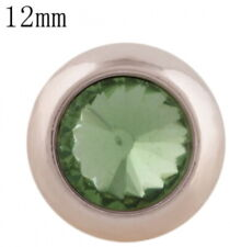 Rose Gold Green Rhinestone 12mm Mini Petite Snap Charm Button For Ginger Snaps