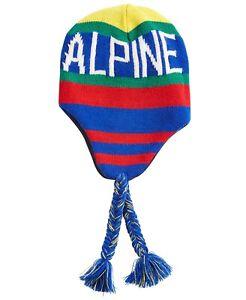 Polo Ralph Lauren Men's Downhill Skier Ear-Flap Cap -Blue/Yellow/Green/Red