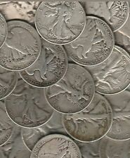 US Walking Liberty Silver Half 10 coin lot front estate.  Random dates