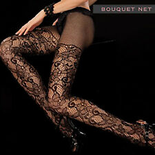 O/S PLUS Sexy Valentina Black Fishnet Sheer BOUQUET NET TIGHTS Pantyhose