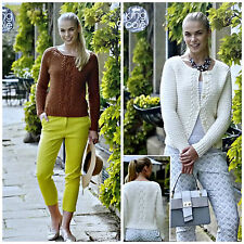 KNITTING PATTERN Ladies Round Neck Cable Jumper & Cardigan DK King Cole 4938
