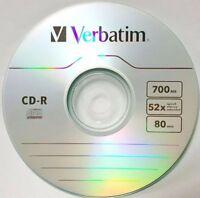 20 Verbatim CD-R 52X Logo Branded CD-R Blank Disc Media 700MB Paper Sleeves