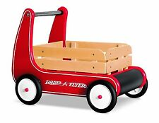 Kids Baby Vintage Red Walker Push Wagon Radio Flyer Ride On Wooden Toy Cart New
