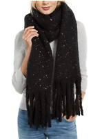 DKNY Womens Pop-Neon Speckled Oversized Scarf Black Neon Pink NEW