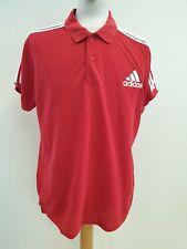 P707 para hombre Adidas Rojo Blanco Polo manga corta de rayas con el logotipo de Reino Unido L EU 52-54