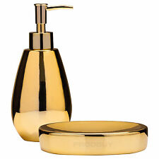 Liquid Lotion Dispenser & Soap Storage Dish Gold Bathroom Sink Accessories Set