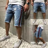 Men Stylish Cargo Short Denim Pants Combat Jeans Ripped Destroyed Shorts Summer