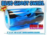 "Acrylic Duck Call BLUE GHOST Exotic Swirl Barrel Blanks 2.75"" X 1.4"" & 5/8"" BORE"