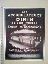 PUBLICITE ANCIENNE - PUB ADVERT 1920 illustration - BATTERIES DININ ACCUMULATEUR
