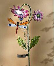 Solar Flower Garden Dragonfly Stake Cute Decorative Yard Art
