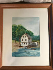 "Jan Hartman ""Lakeside Home And Docked Boat Scene"" Watercolor Painting - Framed"