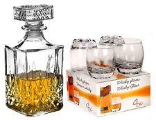 4 GLASS WHISKEY WINE 255 ml  GLASSES TUMBLERS & SQUARE GLASS DECANTER GIFT SET