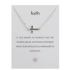 Necklace Gift Wish Card Cross Faith Believe Chain Silver