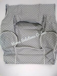 Pottery Barn Twill Pin Dot Anywhere Chair Slipcover ONLY Gray White Piping #7443