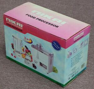 Nikai NFP1702N 3 in 1 Food Processor Stainless Steel blade 220v 50 Hz 450W Japan