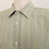 Banana Republic Long Sleeve Shirt Men's Large Relaxed Fit Green Striped Cotton