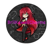 """Kawaii Chibi Grell from Black Butler Professional 2.25"""" Pin-back Button"""