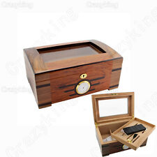 Spanish Cedar Wood Glass CIGAR HUMIDOR W/ Hygrometer Humidifier Lock Fits COHIBA