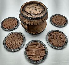 Pine Ridge-Whiskey Barrel Drink Coasters - Unique Bar Decor and Accessories-Nib