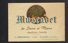 """VALLET (44) ETIQUETTE Chromo MUSCADET de SEVRE & MAINE """"L. BEAUQUIN Vins"""""""