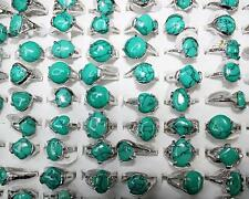 Wholesale lots bulk 10pcs Nature Turquoise gemstone Top Silver Lady Rings Gr02