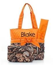 Personalized Natural Camo Diaper Bag Set with Orange Trim Baby Boy Diaperbag