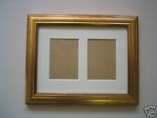 Gold ACEO card photo double picture frame 3.5 x 2.5 IVORY MOUNT
