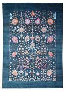 "Plain Border Oushak 5'7"" x 7'10"" HandKnotted Parsian Style Silk & Wool Area Rug"