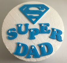 Edible Sugarpaste BLUE SUPERMAN Cake Topper with SUPER  DAD FATHERS DAY BIRTHDAY