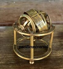 "Nautical Sphere Brass Armillary 3.5"" Handmade Vintage Astrolabe World Globe"