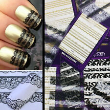 Black White 3D Lace Design Nail Art Manicure Tips Sticker Decal DIY Decoration