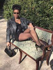 Rare Fringe Custom weathered motorcycle Black Leather coat bolero jacket  XS-S