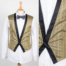 Vintage pour homme or brillant à rayures formel smart gilet matelassée showman xs